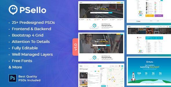 Psello - Classifid Ads Marketplace PSD Template - Corporate Photoshop