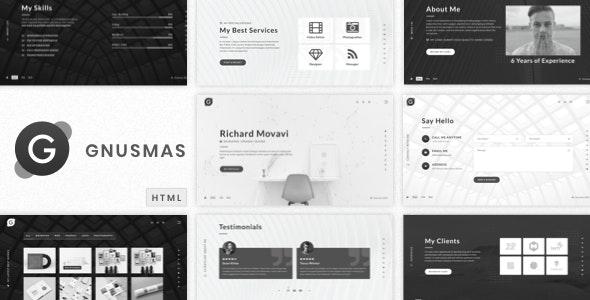 Gnusmas - Minimalist Full Screen Personal HTML Portfolio Template - Virtual Business Card Personal