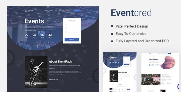 Eventcred - A Creative Event PSD Template - Events Entertainment