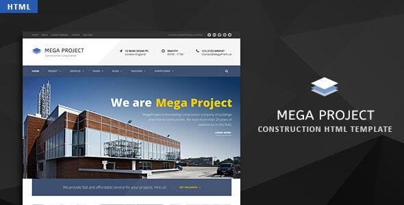 Mega Project - Construction HTML Template - Corporate Site Templates