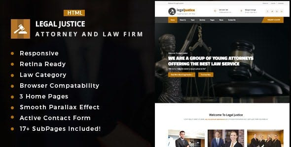 Legal Justice - Template for Lawyers Attorneys and Law Firm