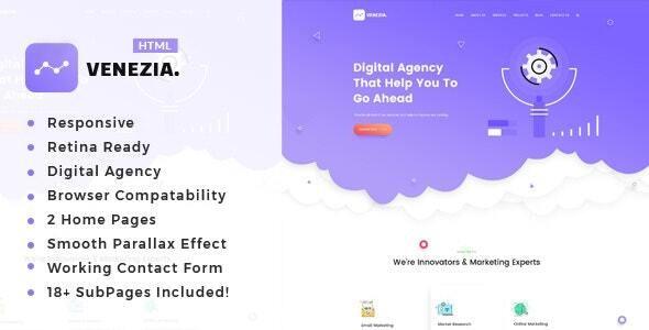Venezia - SEO /Digital Agency HTML5 Template - Portfolio Creative