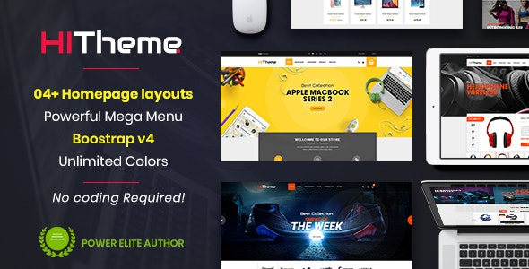 HiTheme - Responsive & Multipurpose Sectioned Bootstrap 4 Shopify Theme - Shopify eCommerce