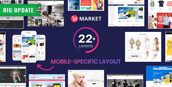 Market - Premium Responsive Magento 2 and 1.9 Store Theme with Mobile-Specific Layout (22 HomePages) - Shopping Magento