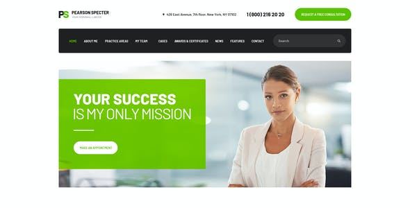 Pearson Specter   WordPress Theme for Lawyer & Attorney