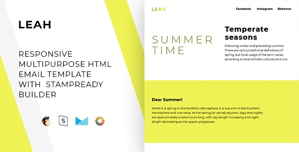 Leah – Responsive Email + StampReady, MailChimp & CampaignMonitor Compatible Files - Email Templates Marketing
