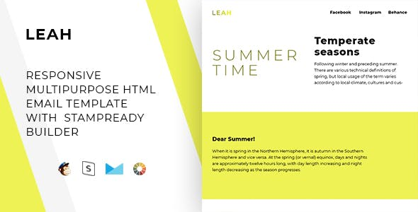 Leah – Responsive Email + StampReady, MailChimp & CampaignMonitor Compatible Files