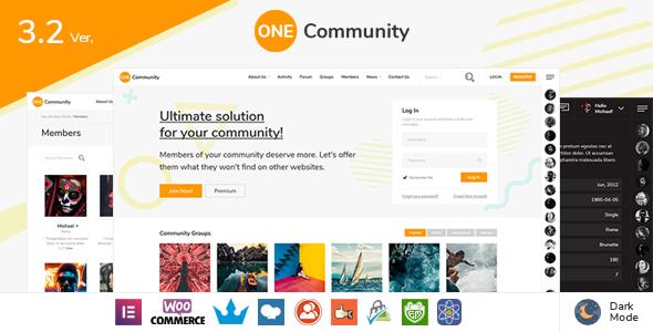 OneCommunity - BuddyPress Nouveau Community Theme with Likes and Achievements - BuddyPress WordPress