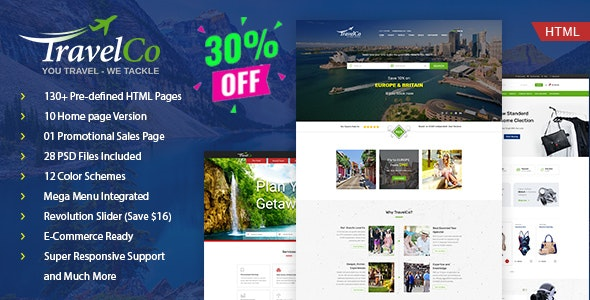 Travel Co: Tourism, Tour and Hotel booking HTML5 Template - Travel Retail