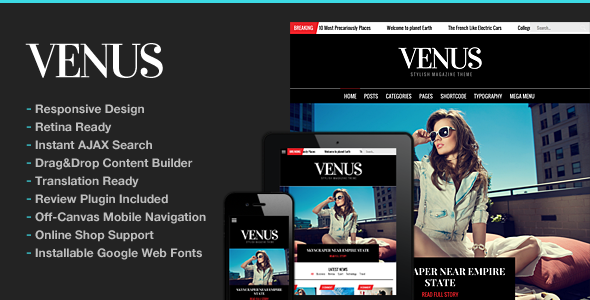 Venus | Responsive News Magazine Blog Theme - News / Editorial Blog / Magazine