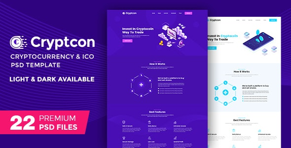Crypton | ICO, Bitcoin And Crypto Currency PSD Template - Marketing Corporate