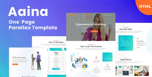 Aaina - One Page Parallax Template - Technology Site Templates