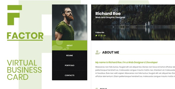 Factor - Personal Resume vCard - Personal Site Templates