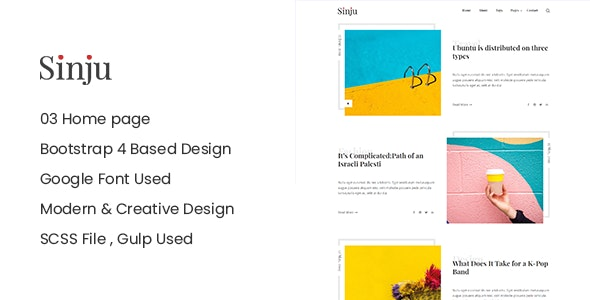 Sinju - HTML5 Blog Site Template - Creative Site Templates