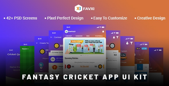 FavXI - Fantasy Sports App PSD Template - Software Technology