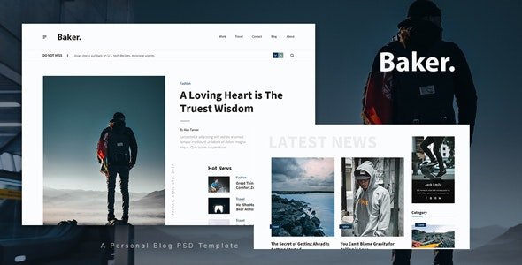 Baker - Personal Blog PSD Template - Personal PSD Templates
