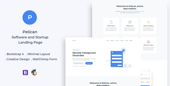 Pelican Startup and Software Landing Page