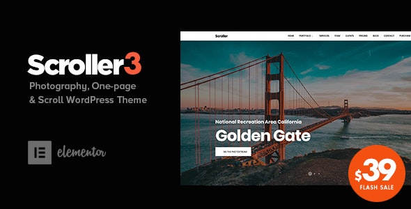 Scroller – Photography One Page / Multi-page WordPress Theme