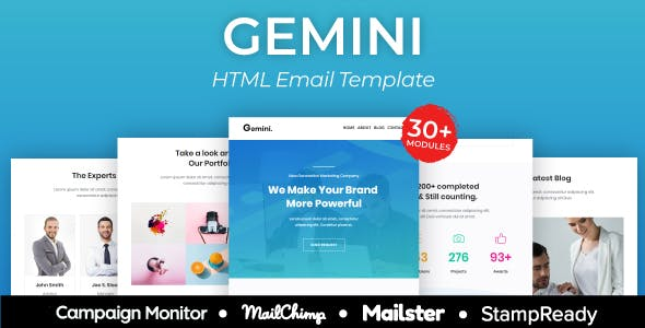 Gemini Agency - Multipurpose Responsive Email Template 30+ Modules -  Mailster & Mailchimp
