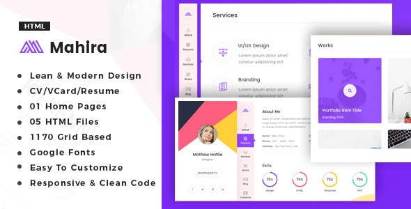 Mahira - vCard / CV / Resume / Portfolio - Resume / CV Specialty Pages