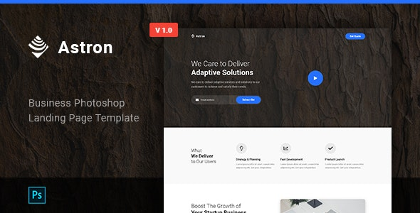 Astron - Business Photoshop Landing Page Template - Marketing Corporate