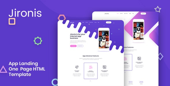 Jironis - App Landing One Page HTML Template - Technology Site Templates