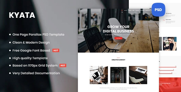 Kyata | One Page Parallax PSD Template - Business Corporate