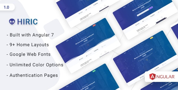 Hiric - Angular Landing Template - Corporate Site Templates