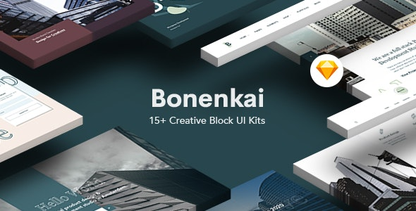 Bonenkai - Creative Block UI Kits Website - Sketch Templates