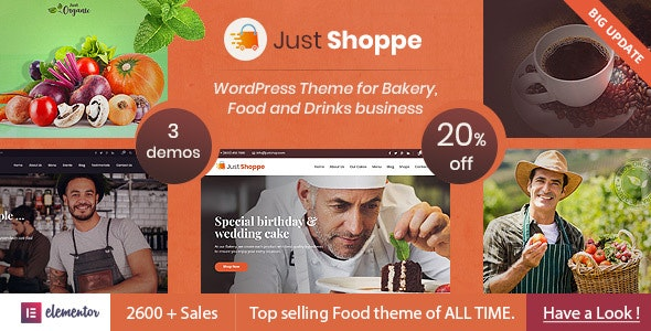 Elementor Cake Bakery WordPress Theme - Justshoppe - Food Retail