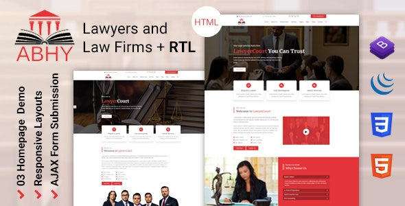 Abhy - Lawyers and Law Firms HTML Template - Corporate Site Templates