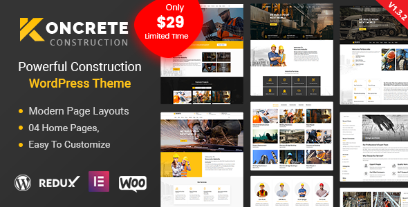 Koncrete - Construction Building WordPress Theme - Business Corporate