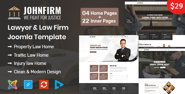 Johnfirm - Lawyer & Lawfirm Joomla Template - Business Corporate