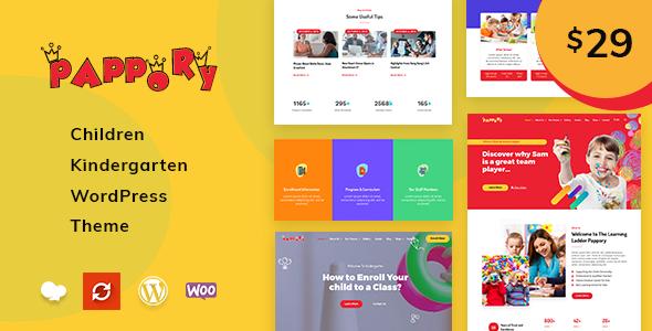 Pappory - Children Kindergarten WordPress Theme - Education WordPress