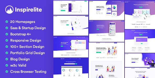 Inspirelite Responsive Template for SaaS, Startup, & Web app - Software Technology