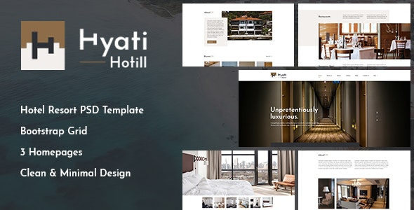 Hyati - Hotel, Bed and Breakfast PSD Template - Retail Photoshop