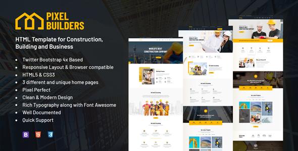 PixelBuilders - Construction HTML Template - Business Corporate
