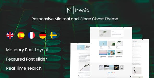 Menia - Responsive Minimal and Clean Ghost Theme nulled theme download