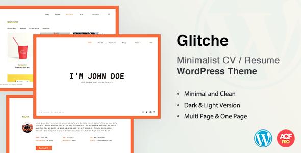 Glitche CV/Resume Theme - Portfolio Creative
