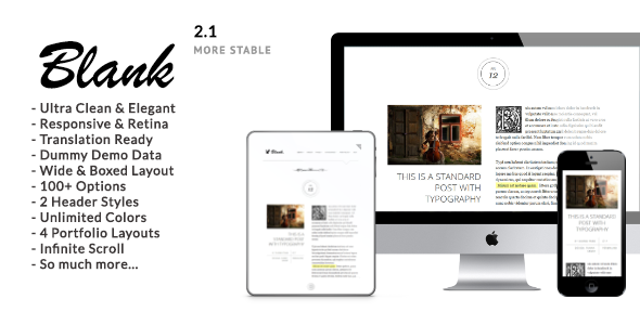 Blank - Elegant Minimalist Blog WordPress Theme - Personal Blog / Magazine
