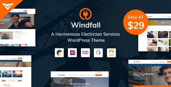 Windfall - Electrician Services WordPress Theme - Business Corporate