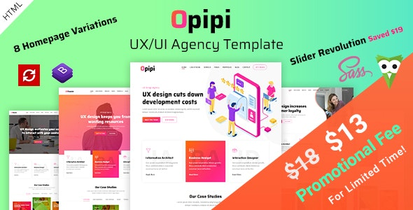 Opipi - UX/UI Agency Template - Creative Site Templates