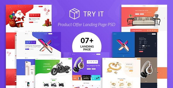 Tryit - Product Offer Landing Page PSD Template - Marketing Corporate
