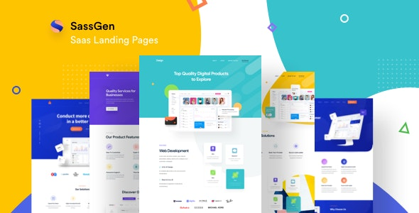 Sassgen | SaaS Landing Page HTML Template - Software Technology