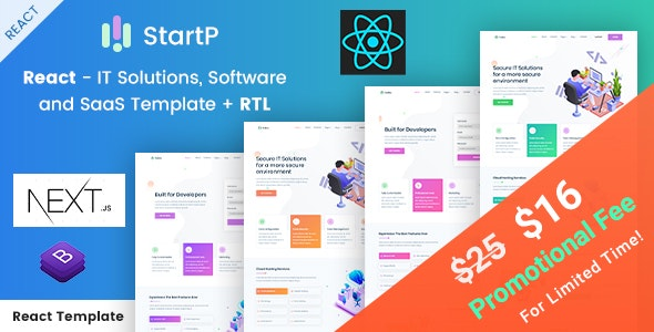 StartP - React Next IT Startups and Digital Services Template + RTL - Business Corporate