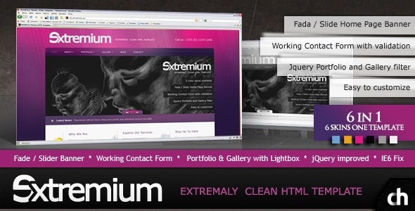 Extremium - 6 in 1 Extremely Clean HTML Template - Business Corporate