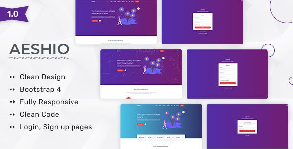 Aeshio - Crypto Currency HTML5 Template - Site Templates