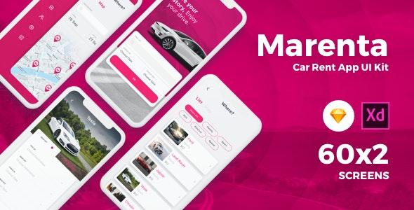 Marenta - Car Rental App UI Kit by uicube | ThemeForest