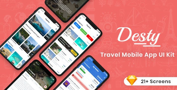 Desty - Travel App UI Kit - Sketch UI Templates