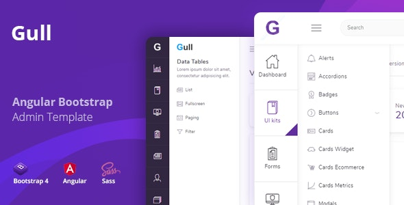 Gull - Angular 8+ Bootstrap 4 Admin Dashboard Template - Admin Templates Site Templates